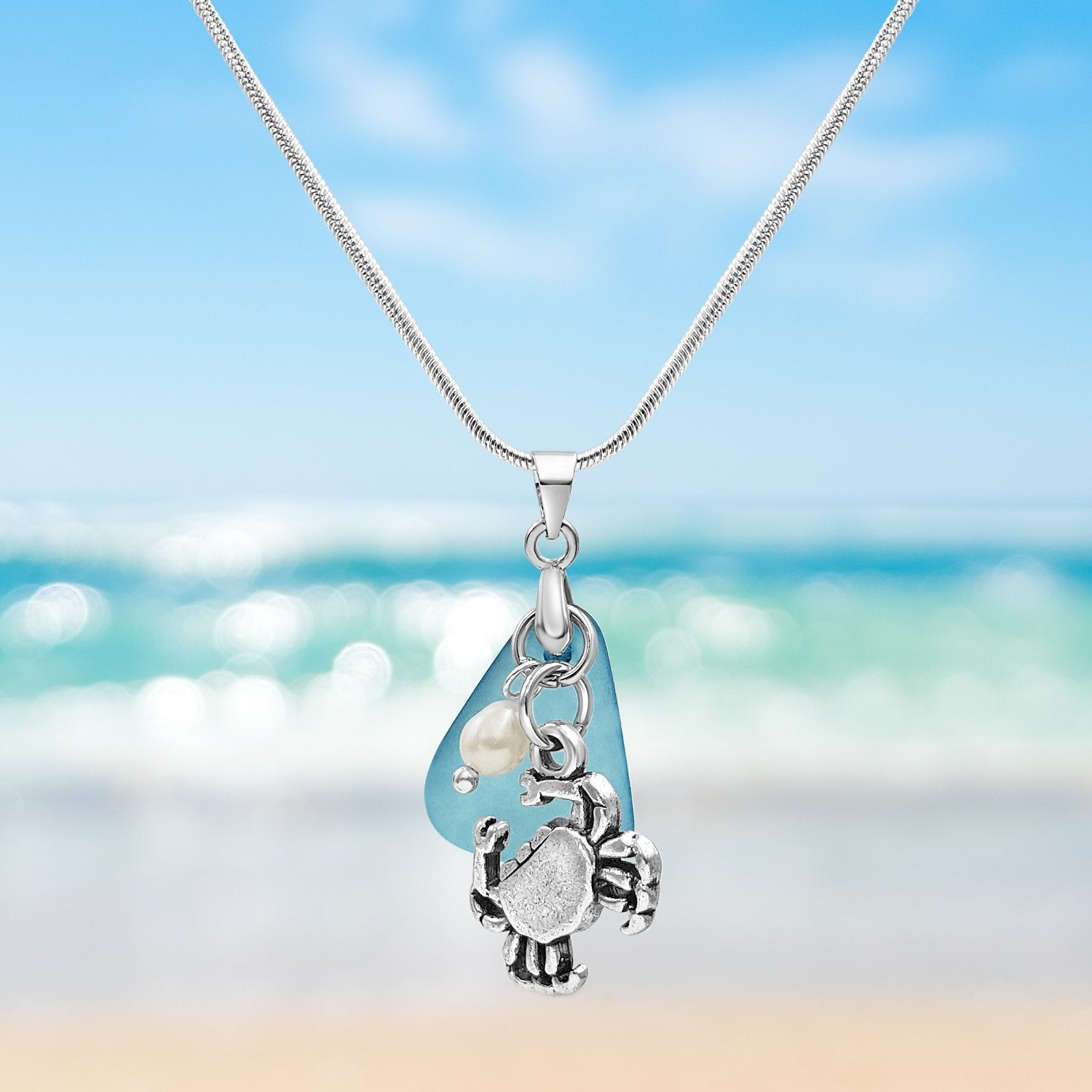 Blue Sea Glass and Crab Necklace