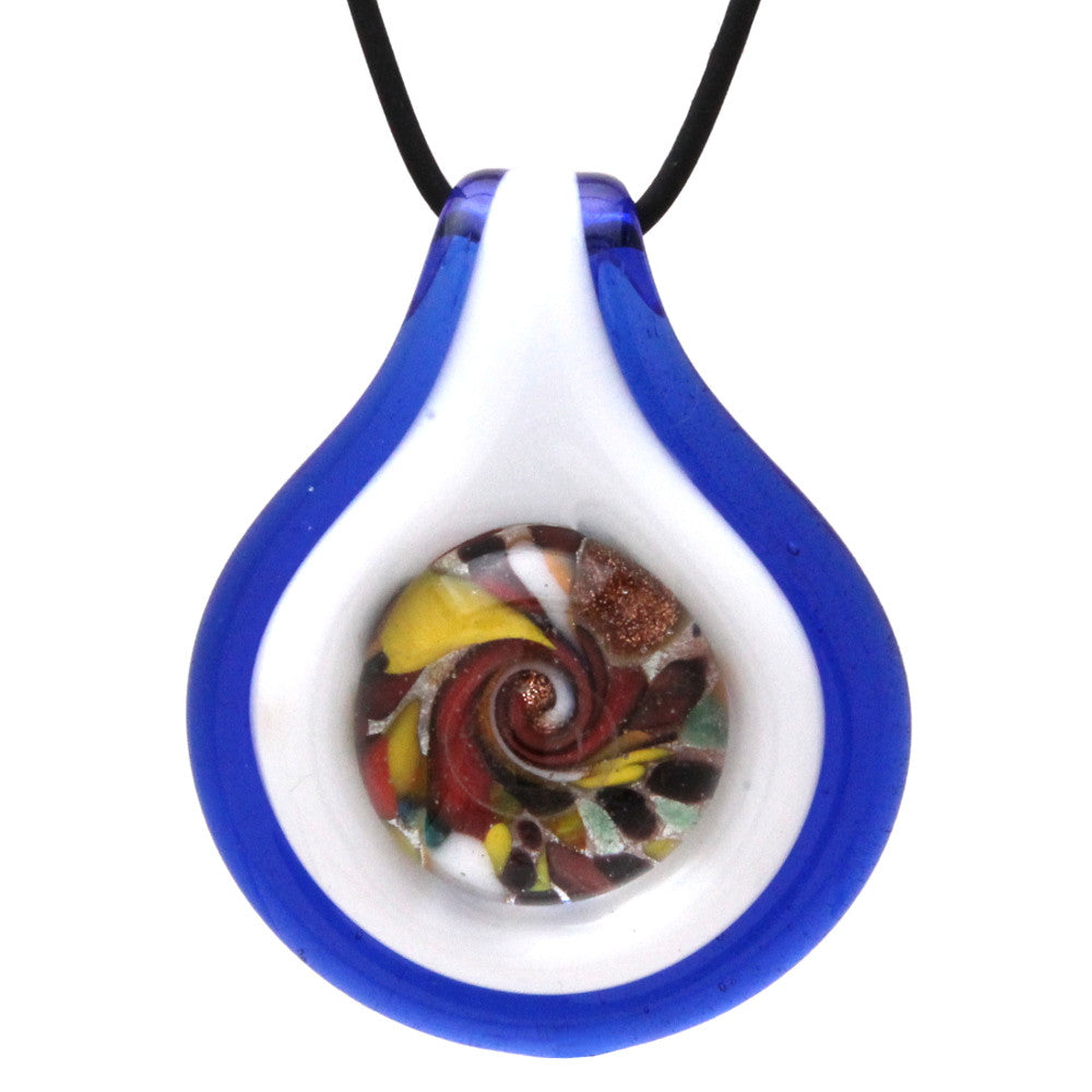 Handmade Murano-inspired Glass Cobalt Blue Circle Button Necklace Pendant