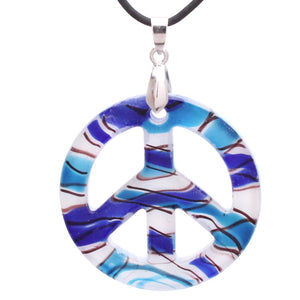 Bleek2sheek Murano-inspired Glass Nautical Themed Peace Sign Pendant Necklace
