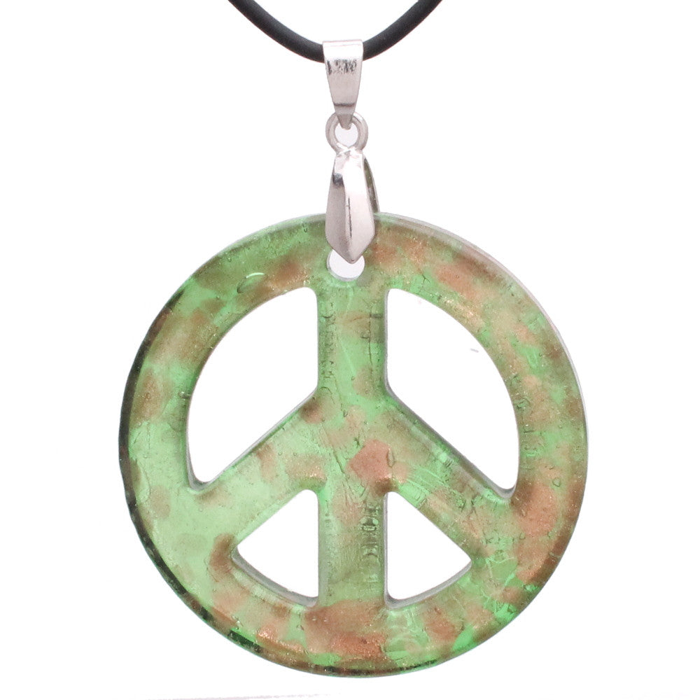 Bleek2sheek Murano-inspired Glass Mint Green and Golden flecked Peace Sign Pendant Necklace