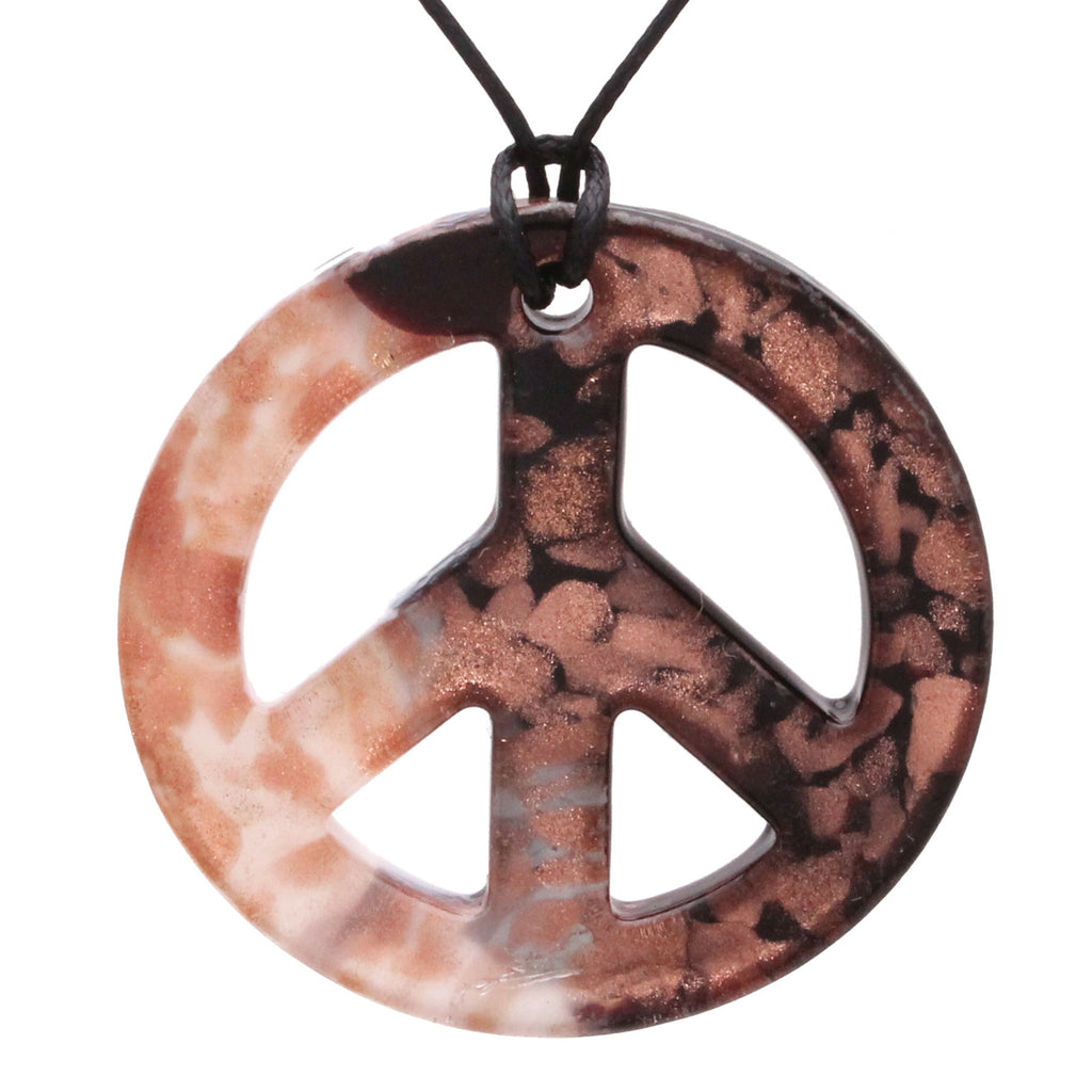 Handmade Murano-inspired Glass Black and White Peace Sign Pendant Necklace Jewelry