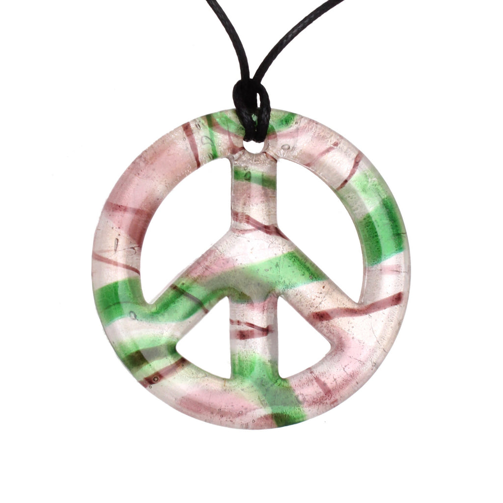 Bleek2sheek Handmade Murano-inspired Glass Purple, Green and Shimmer Peace Sign Pendant Necklace Jewelry