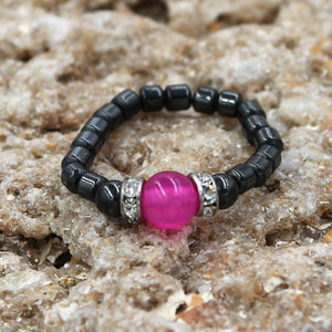 Magenetic Stretch Pink Agate Stretch Toe Ring