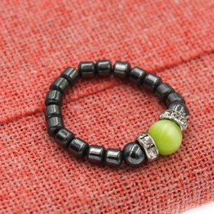 Magenetic Stretch Lime Green Tiger Eye Stretch Toe Ring