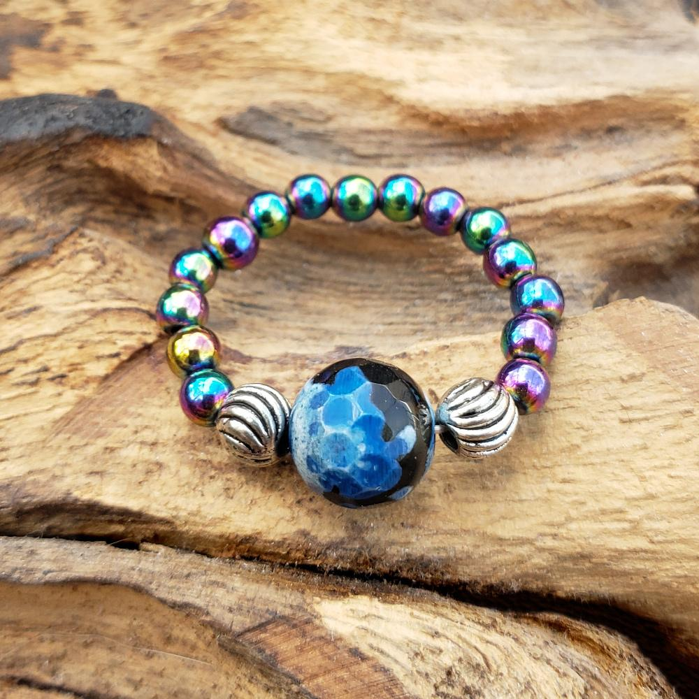 Rainbow Hematite and Blue Calsilica Agate Stretch Toe Ring