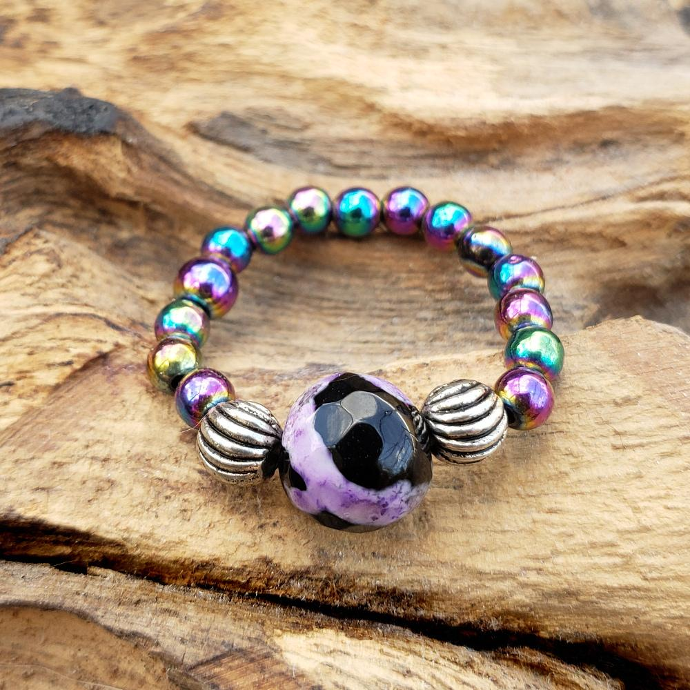 Rainbow Hematite and Purple Calsilica Agate Stretch Toe Ring