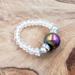 Rainbow Hematite and Clear Crystal Stretch Toe Ring