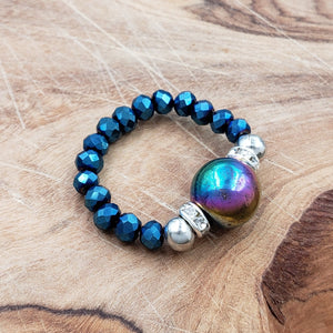 Rainbow Hematite and Luster Blue Crystal Stretch Toe Ring