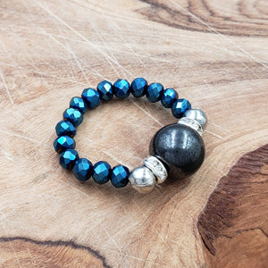 Hematite and Luster Blue Crystal Stretch Toe Ring