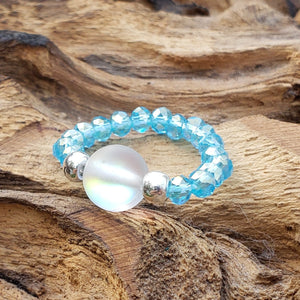 Purple Mermaid Glass and Aqua Blue Crystal Stretch Toe Ring