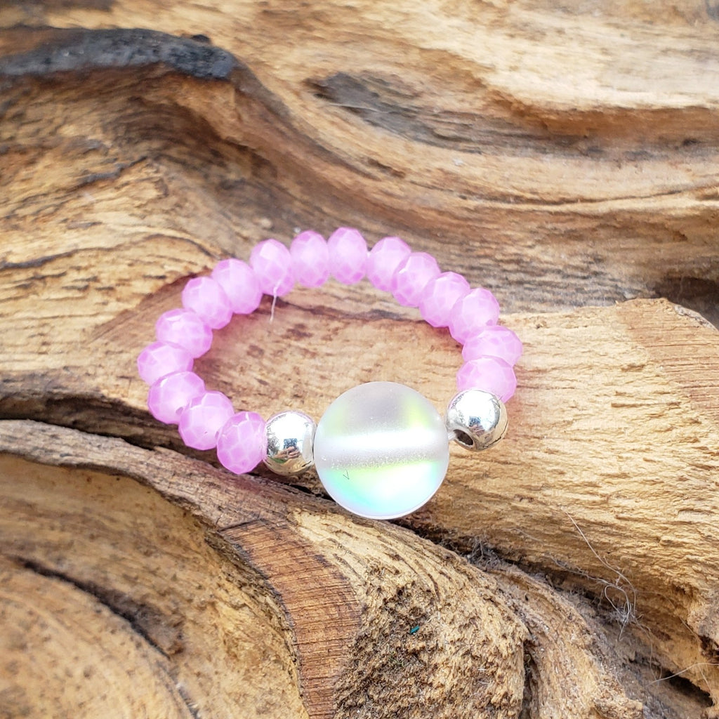 Clear Mermaid Glass and Pink Crystal Stretch Toe Ring