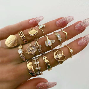 Crystal and Goldtone Coin Cabochon Rings (Set of 15)