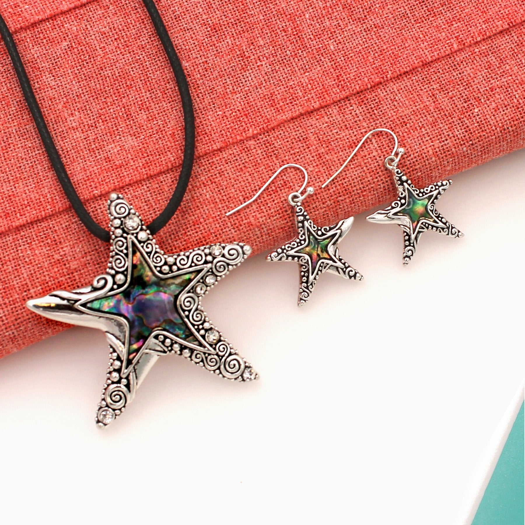 Silver Abalone Ornate Filigree Starfish Pendant and Earrings Jewelry Set