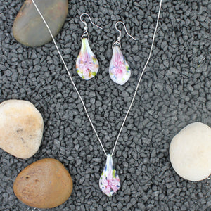 Sterling Silver Pink Lily Confetti Glass Earrings and Necklace Pendant Set