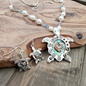 Antiqued Tri-tone Abalone Turtle Pendant and Earrings Jewelry Set