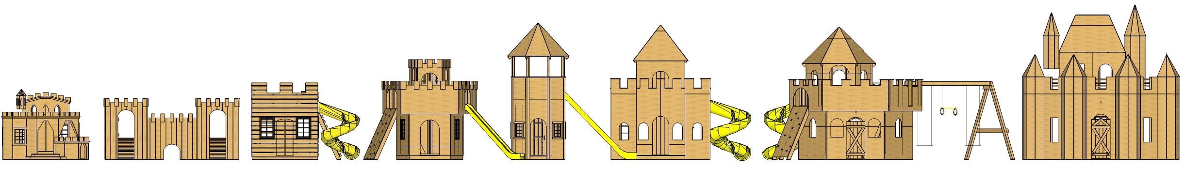 Six outdoor, wooden castle playhouse plans