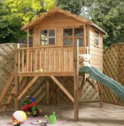 For A Simply Delightful Provincial Backyard Retreat, The Poppy Tower Is A  Delight. Elevated To Allow For A Slide, This Rustic Wooden Kid Habitat  Comes With ...