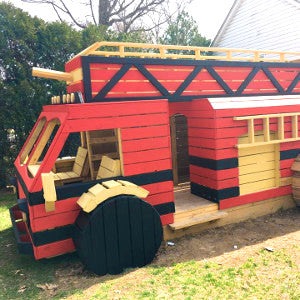Outdoor firetruck playhouse plan