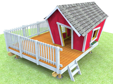 An island patio / deck with a white fence and a playhouse on top