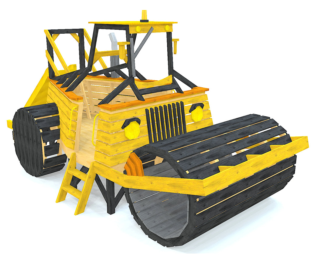 Yellow road roller playset