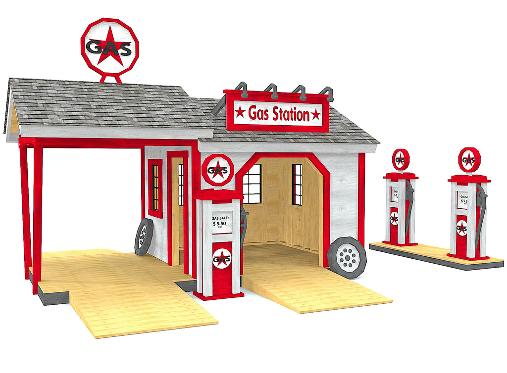 Red and white gas station playhouse idea