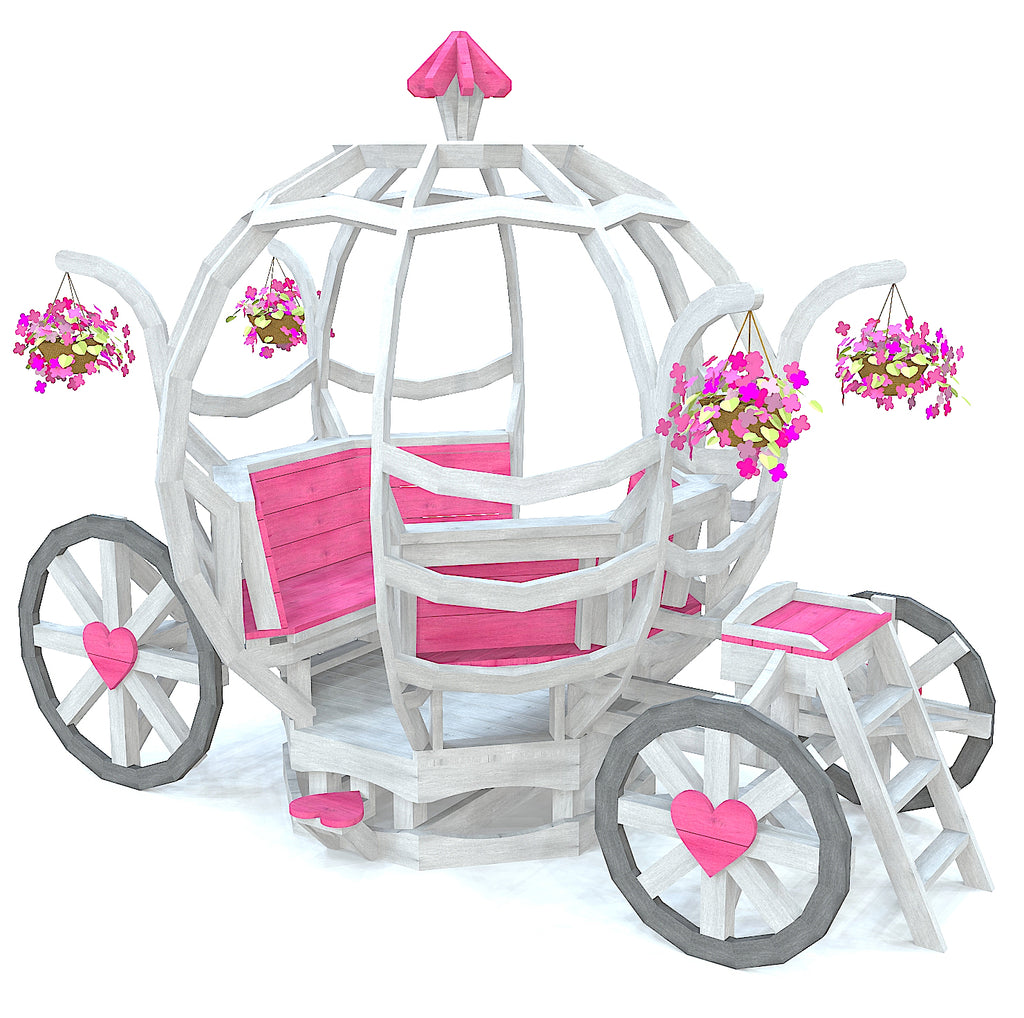 Girly and whimsical Cinderella carriage playset, white and pink