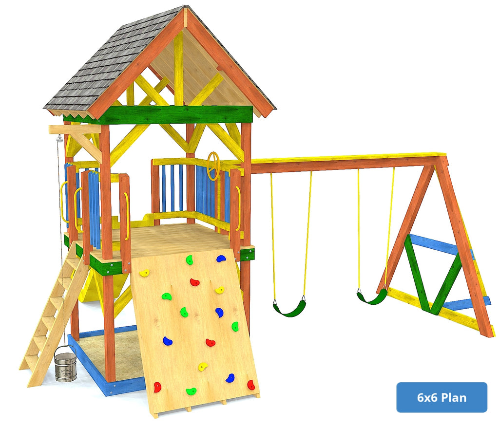 6x6 elevated swing set with rock wall and roof
