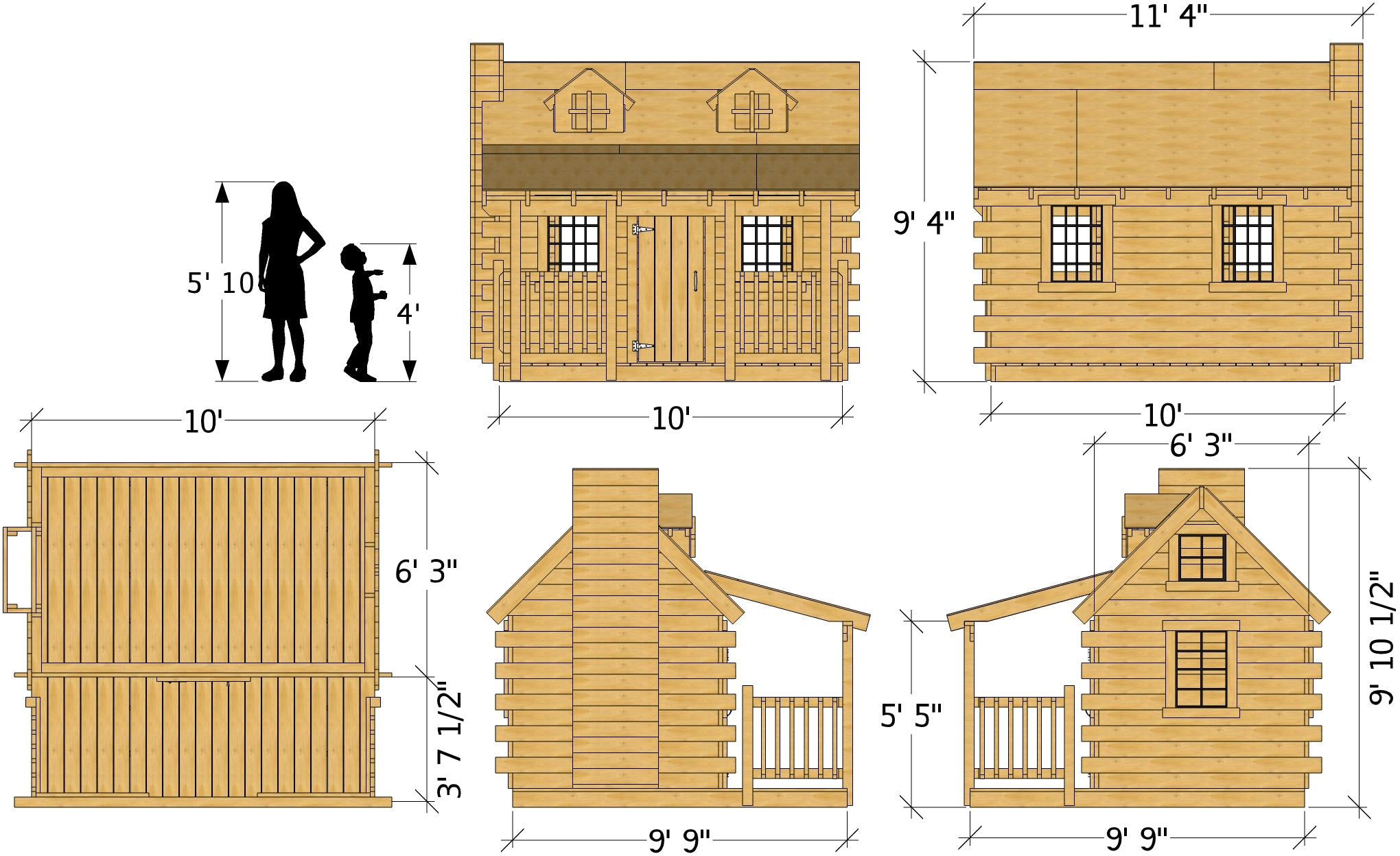 10x10 Log Cabin Playhouse Plan for Kids – Paul's Playhouses