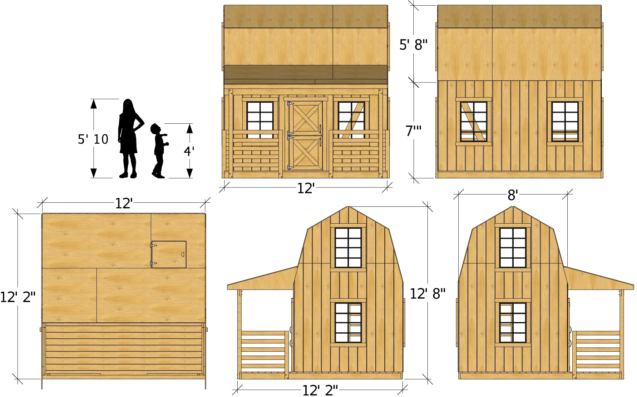 Do It Yourself Home Design: 12x19 Barn & Silo, 2 Story Playhouse Plan For Kids