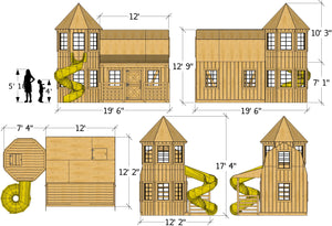 Barn and silo playhouse plan dimensions