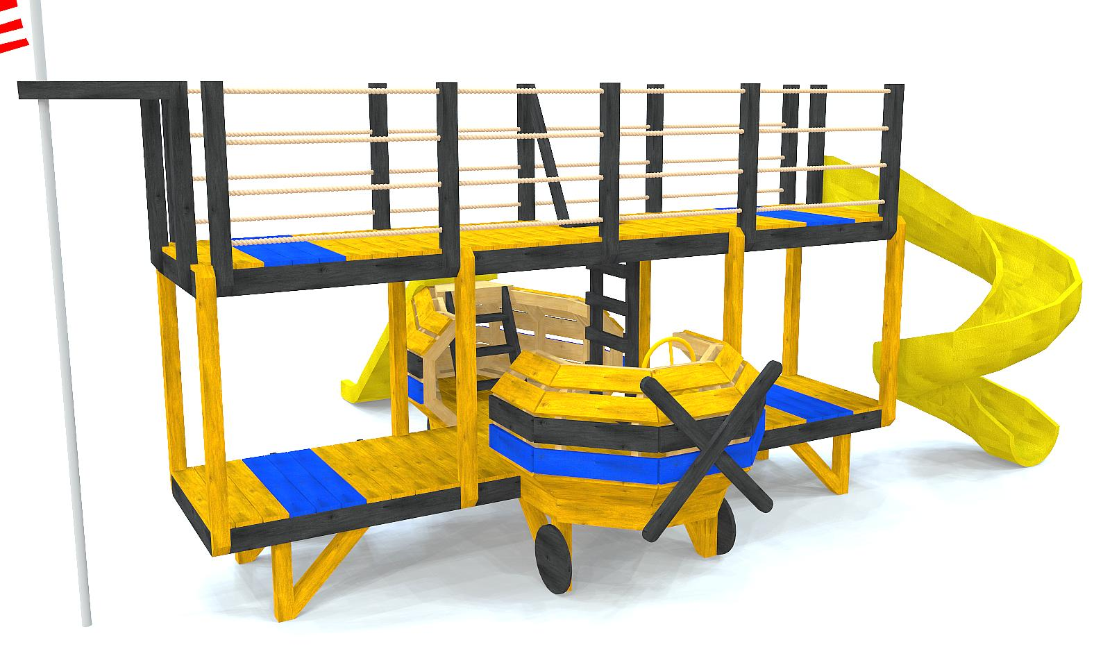 Yellow & blue bi-plane play-set plan with slide and 2nd story