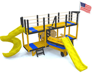 bi-plane play-set plan with two slides and fire pole