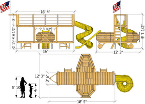 bi-plane play-set plan dimensional view