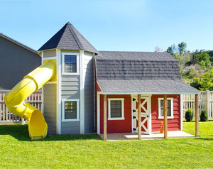 A red barn and silo playhouse for kids