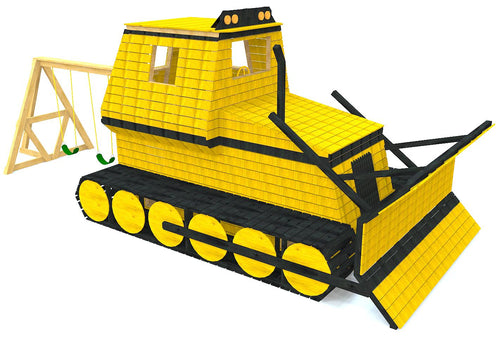 Large wooden bulldozer play-set plan for kids