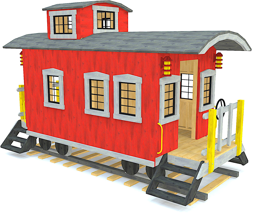 Red caboose playset with cupola