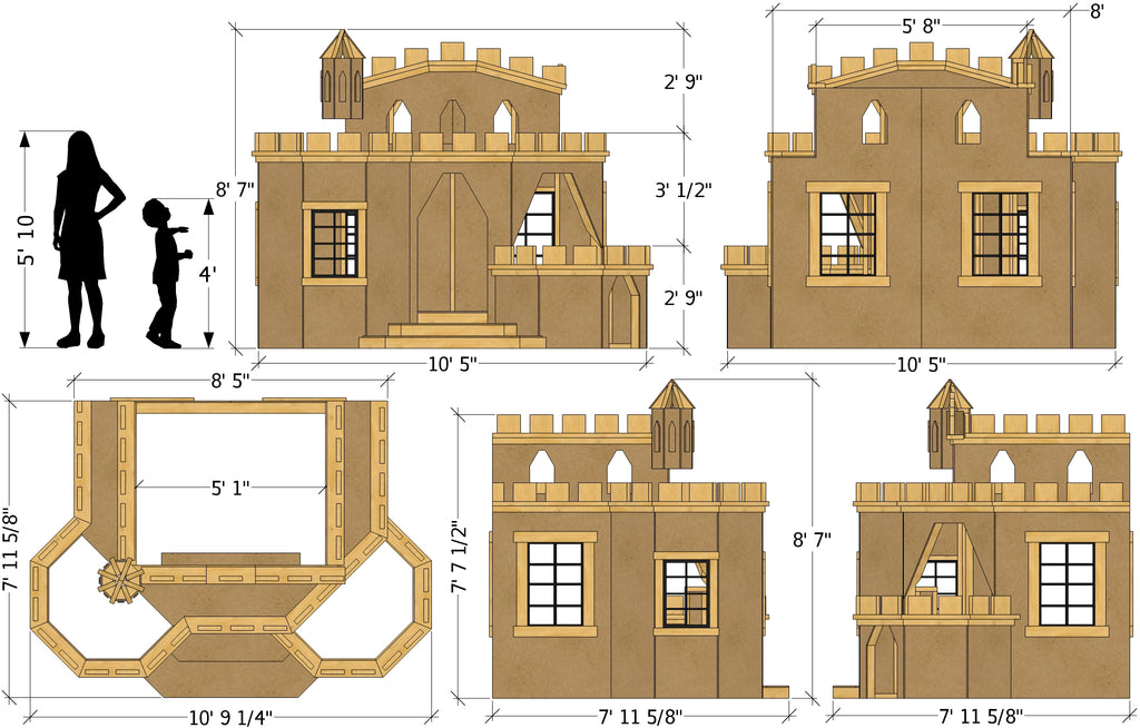 Princess Castle indoor playhouse plan dimensions