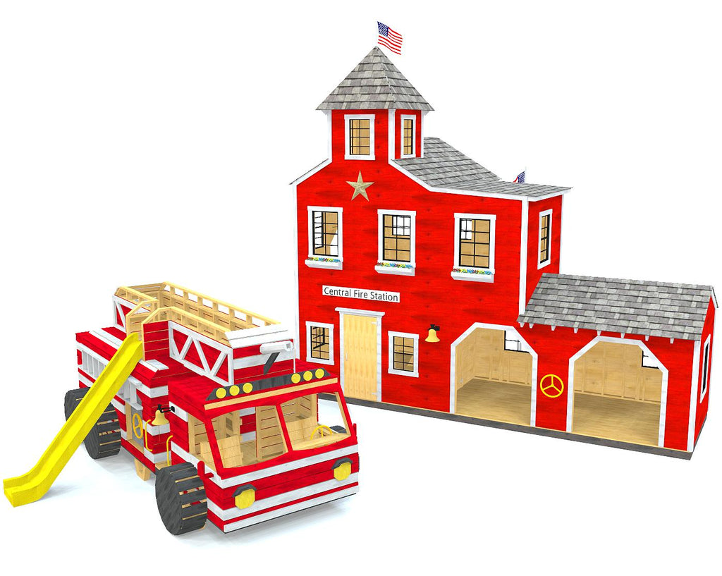 A fire truck play-set and fire station playhouse