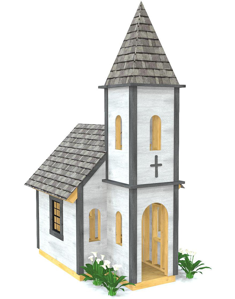 Wooden church playhouse plan with steeple