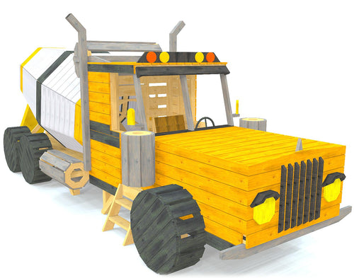 DIY Wooden concrete mixing truck play-set plan