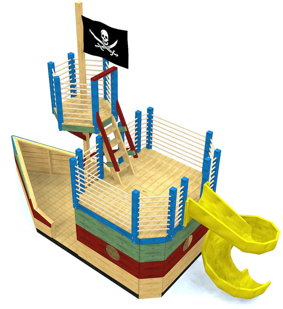 Small play-set pirate ship with crow's nest and slide
