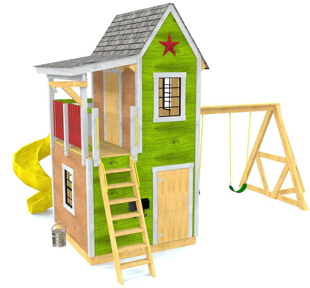 Two story, 7x7 playhouse with a swing-set, slide, windows and balcony