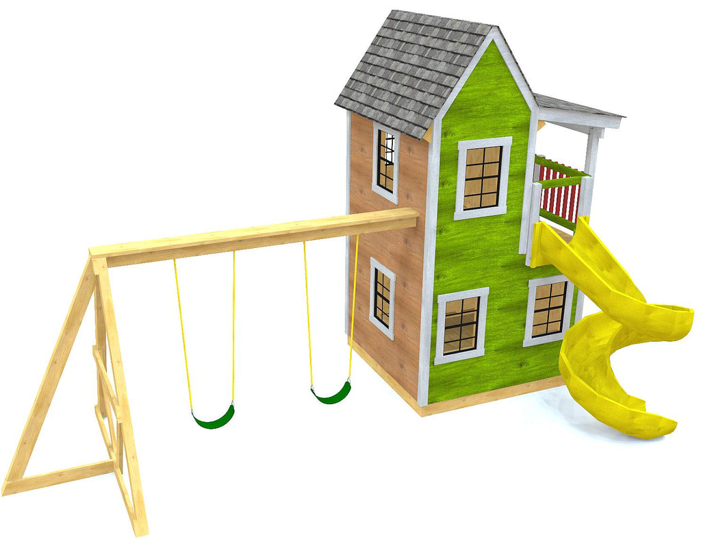 Two level playhouse with swing-set and slide