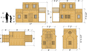 The Damsel Playhouse Plan Dimensions