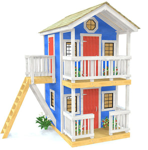 Two story playhouse plan with two porches