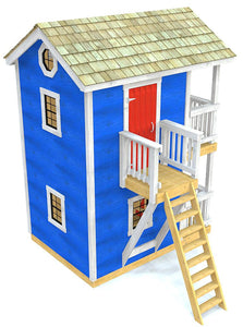 A blue, two story playhouse plan with ship ladder