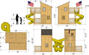 Deluxe loft playhouse plan dimensions