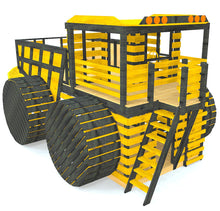 large, wooden, black and yellow dump truck playset plan