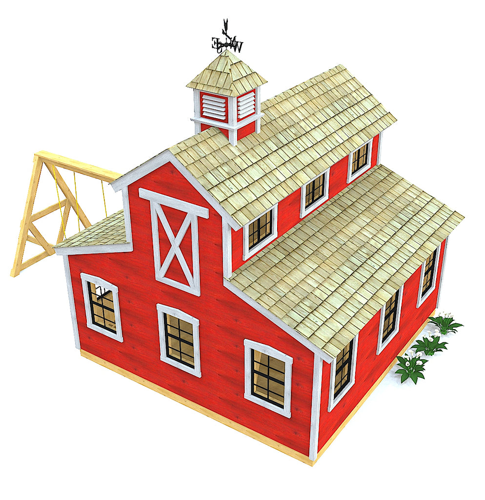 Red barn playhouse with swing set and cupola
