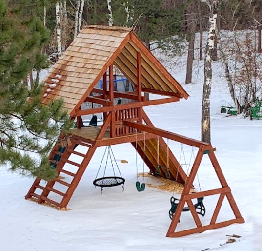 A-frame playset in the snow